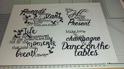 TATTERED LACE SAYINGS DIE CUTS x 3 sets (12 pieces) - your choice of colour
