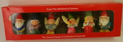 Complete Set of 6 1979 Gorham Uniboek B. V. Gnome Ornaments With Box