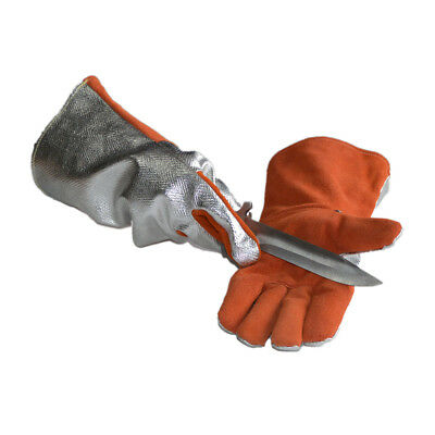 1 pair Orange Welding WELDERS Work Soft Artificial Cowhide Gloves - 35cm
