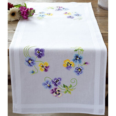 """Pretty Pansies Table Runner Stamped Embroidery Kit-16""""X40"""" V0145233"""