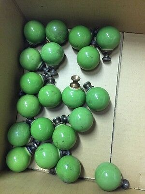 20 Vintage Art Deco 1950's Lime Green 4 Lines Drawer Cabinet Pulls Knobs