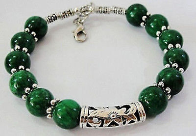 Real handmade Tibet silver green jade bracelet 7.5 ~ 8 inches
