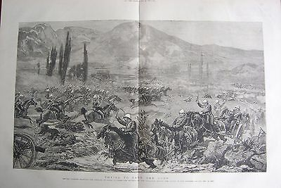 1880 Antique Print -  Trying To Save The Guns- Cavalry Charging - Chardeh Valley