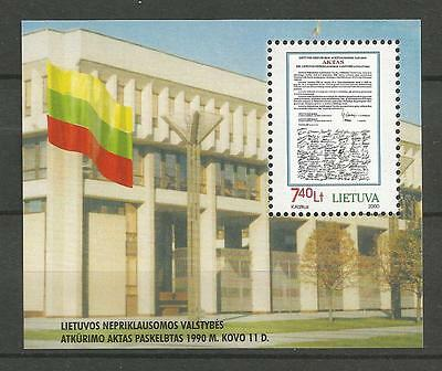 Lithuania Litauen MNH 2000 Mi 724 block 18 Sc 662 10 Restoration of Independence