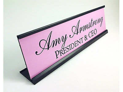 """Personalized Desk Name plate nameplate Pink with Black Aluminum Holder 2x8"""""""