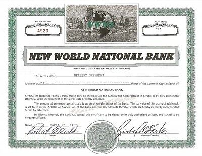 New World National Bank > 1975 old stock certificate share