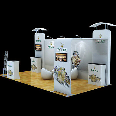 20ft portable trade show display system TV mount counters event booth exhibition