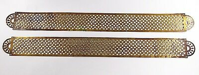 Vintage antique reclaimed French large brass fretwork door finger plates push 2'