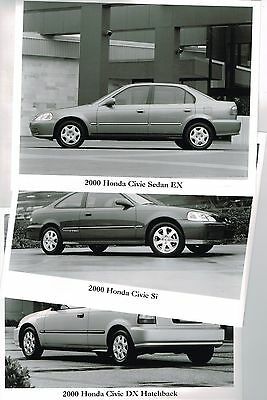 {3} year 2000 HONDA Issued CIVIC Factory Press Kit B/W Photo's<frm?brochure>Si,