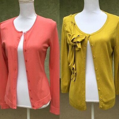 2 CARDIGANS - Women's Sweater Button Up Orange Green Career Work Size Small