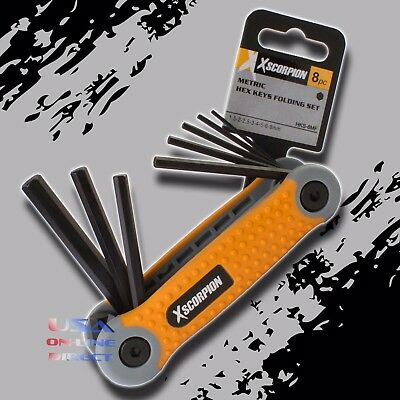 8pc High Quality Folding Hex Key Metric Key Fold-up Steel Allen Wrench Set USA