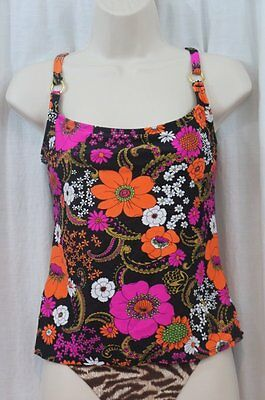 Island Escape Tankini Top Sz 8 Add A Size Pink Multi Paisley Floral Top P760318