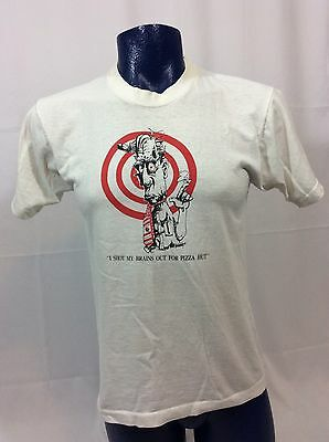 Vintage 1980s I Shot My Brains Out For Pizza Hut Retro Funny 50/50 T-shirt L