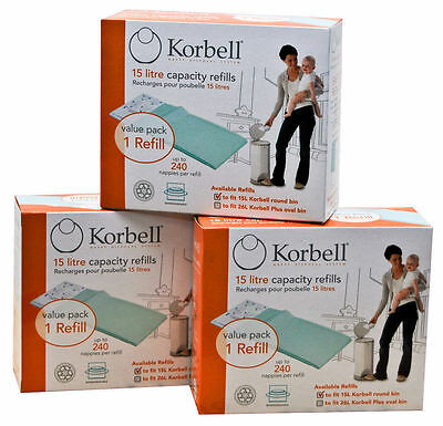 NEW Korbell Nappy Disposal System Single Refill Pack x 3