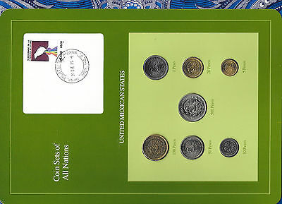 Coin Sets of All Nations Mexico w/card UNC All 1987 but 20 Pesos 1985