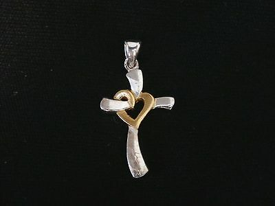 Vintage Sterling Silver Dainty Cross With Heart Pendant/Charm. Make Offer! #2724