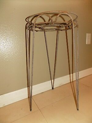 """Vintage Iron Wire Plant Stand Deco Mid Century Hair Pin Hairpin 21"""" tall 10""""W"""