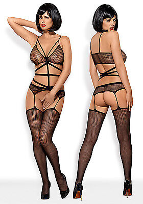 OBSESSIVE N114 Luxury Super Soft Decorative Patterned Fishnet Bodystocking