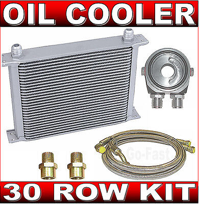 30 ROW OIL COOLER  KIT - OIL COOLER with BRAIDED STAINLESS STEEL HOSES & ADAPTOR