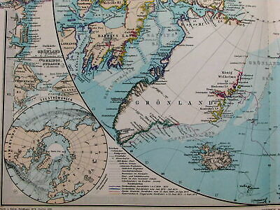 North Pole Arctic Region Discoveries tracks detailed routes 1890 Stieler old map