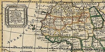 "African continent ""Negroland"" ""Hottentot"" man eaters 1745 Bowen scarce old map"