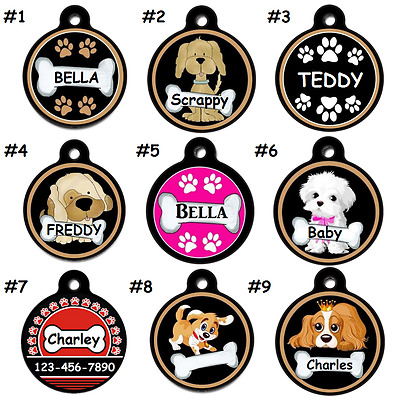 Cute Name Dog-Puppy-Pet-ID-Tags-Personalized-for Collars-SHIPS FREE!