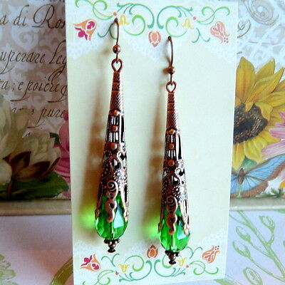 Art Nouveau Victorian Gothic Vintage Style Green Crystal Long Copper Earrings