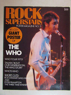 Rock Superstars Vintage 1975 Poster Magazine No.3 The Who Townshend Rare New Oop