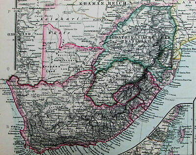 South Africa Madagascar Abyssinia Zanzibar Cape Town 1891 Stieler old color map