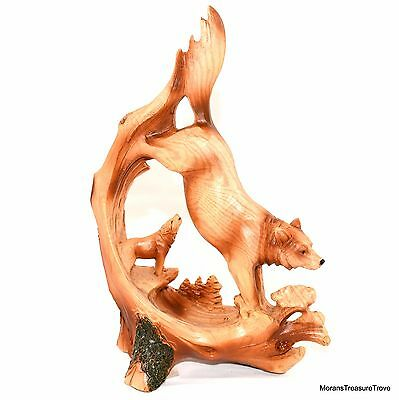 "Faux Wood Rustic Howling Running Wild Wolf 7.25"" Figurine Statue"