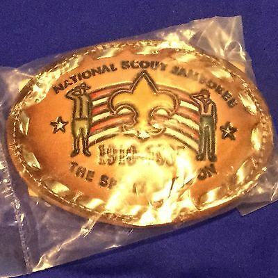 Boy Scout 1985 National Scout Jamboree Leather Belt Buckle New In Bag