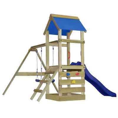 B#Wooden Playhouse Set with Ladder Slide Swings Children Outdoor Garden Playgrou