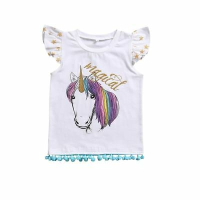 Girls Clothes Beautiful UNICORN Print Summer Cotton T-shirt Tops Sleeveless