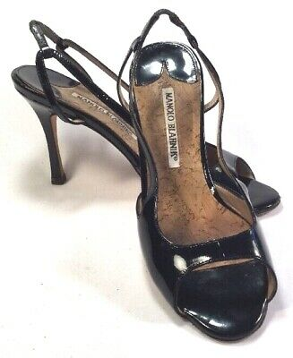 d8b9b6e732df5 Manolo Blahnik Black Patent Strappy Peep Toe Stiletto Sandals Size 5.5 EU 36