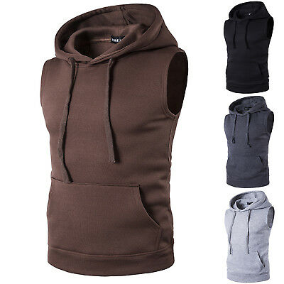 Men Hoodie Sweatshirts Hooded Vest Tank Top Sleeveless Casual Zipper Up Outwear