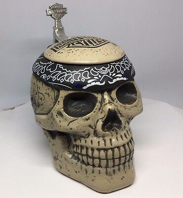 Harley-Davidson Skull ceramic sculpted character stein 24 Oz Bar & Shield
