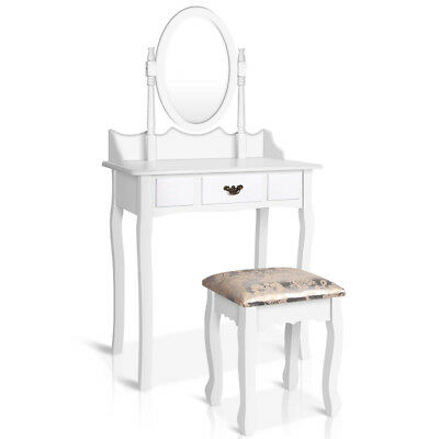 Japorms Single Drawer Dressing Table with Mirror White DRESS-TAB-011-WH