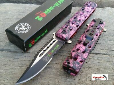 "8.5"" Pink Skull SAWBACK Spring Assisted Open Pocket Knife BOWIE Tactical Rescue"