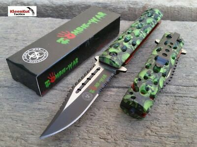 "8.5"" Green Skull SAWBACK Spring Assisted Open Pocket Knife BOWIE Tactical Rescue"