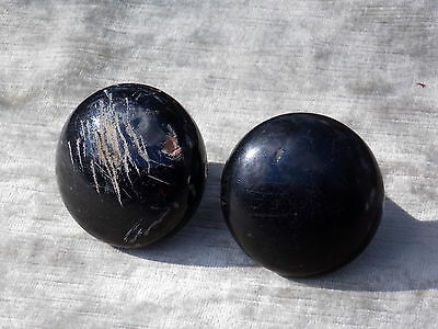 Vintage Black Porcelain Door Knob ~Set of Two~