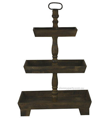 Rustic three (3) tier wooden cake stand - Rectangle