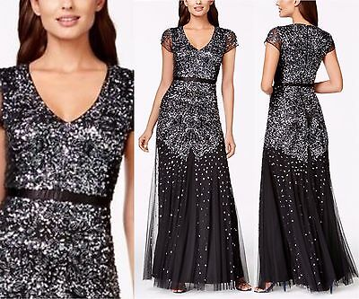 NEW Adrianna Papell Cap-Sleeve Beaded Embellished Gown Black/GNMTL [SZ 2]