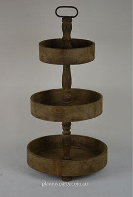 Rustic three (3) tier wooden cake stand - Round