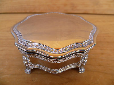 Vintage Old Very Nice Epns Lined Jewellery Box, (655)