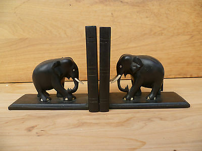 Vintage Old Pair Of Elephant Book Ends Very Good (A123)