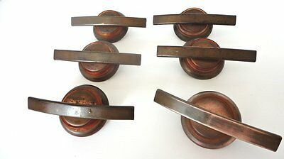 Antique 1920's Copper & Celluloid Art Deco Drawer Pulls SET 6