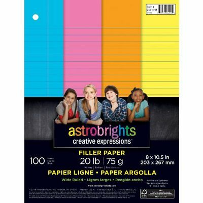 "Astrobrights Color Paper, Wide Ruled Filler Paper, 3-Hole Punched, 8"" x 10.5"""