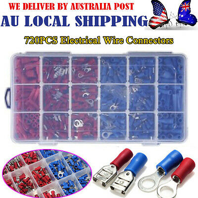 720PCS Assorted Insulated Electrical Wire Terminal Crimp Connector Spade Set Kit