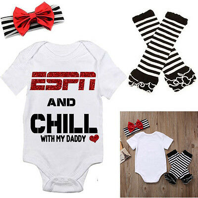 USA Kids Newborn Baby Girl Tops Romper Leggings Headband Outfit Clothes 3PCS Set