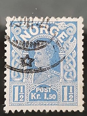Norway Sg # 128 1907 1 1/2 Kronor Ultra Used VFU HR Stamp CV £95.00